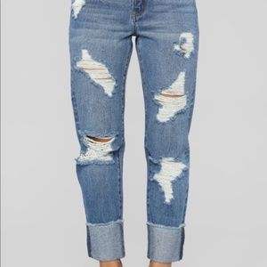 Shane High Rise Boyfriend Jeans - medium wash